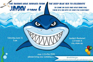Ekwebdesigns Kids Birthday Invitations Shark