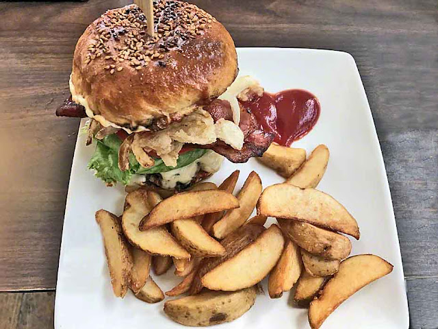 Sparky Burger, fries, bacon and lettuce