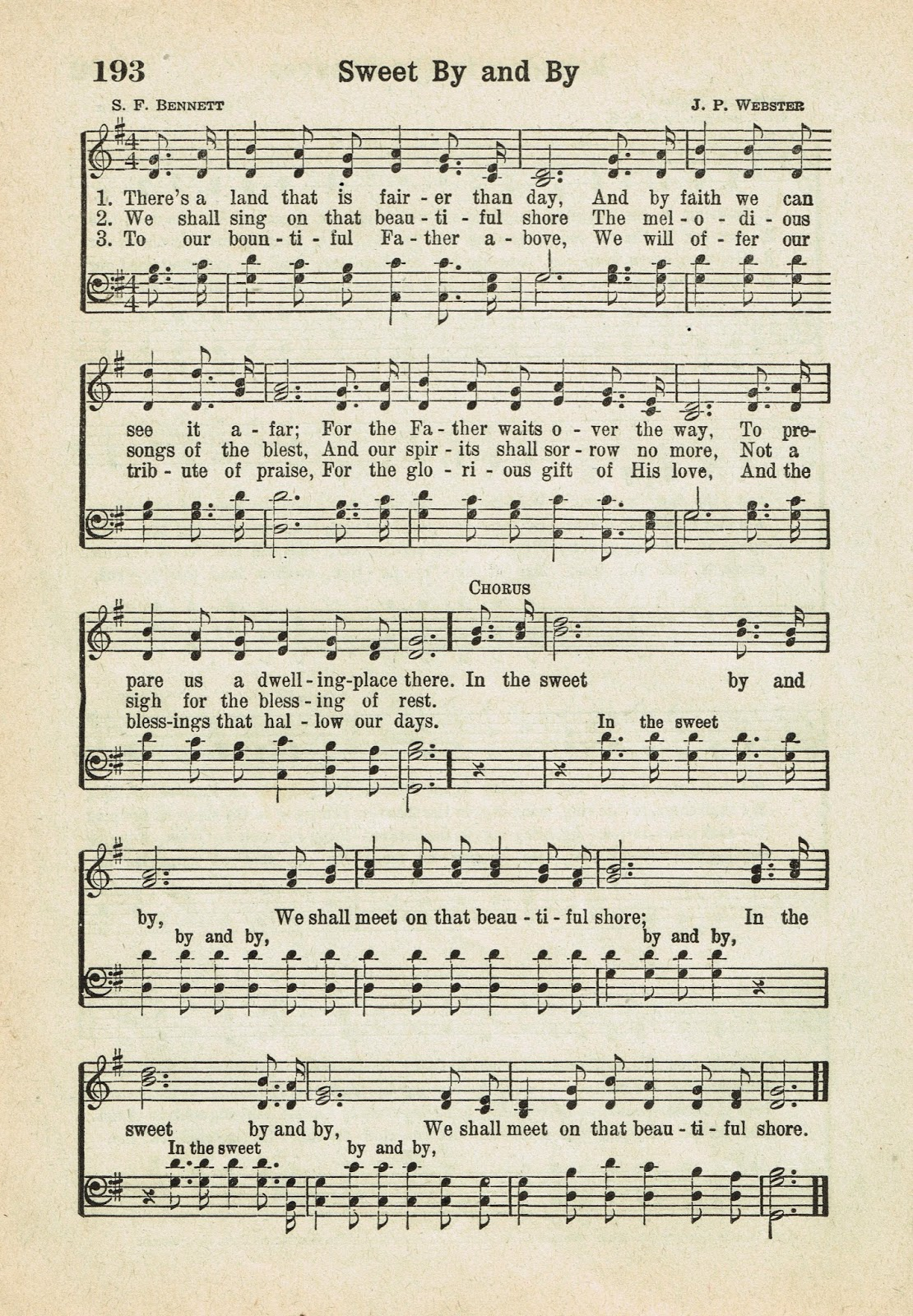 Sweet By And By Printable Antique Hymn Page