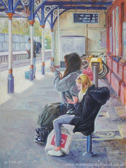 christchurh station passengers on phones artwork