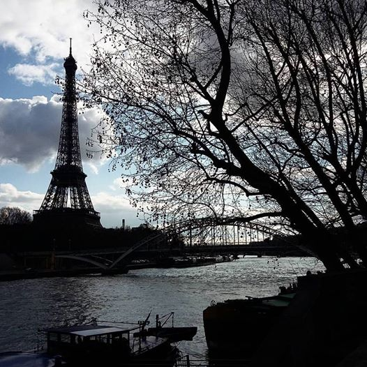 eiffel tower over seine
