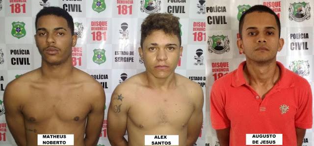 Trio é preso durante operação conjunta entre Polícia Civil e Guarda Municipal em Lagarto (SE)
