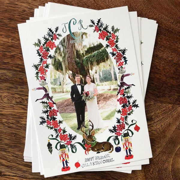 Custom floral and Nutcracker watercolor holiday cards with bride and groom portrait