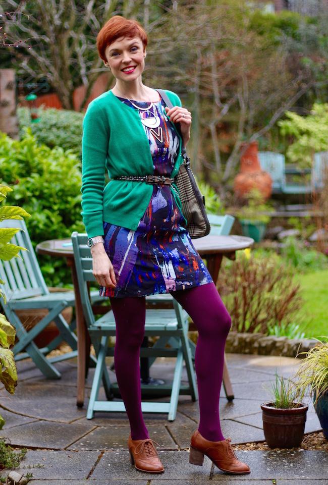 Fake Fabulous | Evening wear as daywear | Silk dress & Cashmere cardigan | Purple & green.