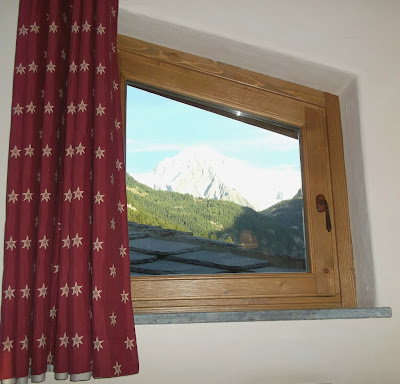 A splendid view of the Mont Blanc from a window at the Locanda Bellevue hotel