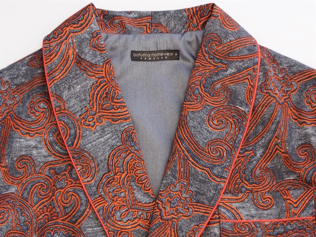 Mens Paisley Dressing Gown Cotton Orange Gray Classic Smoking Robe Shawl  Lapel with Piping. 5840b4502