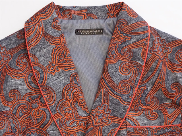 Mens Paisley Dressing Gown Cotton Orange Gray Classic Smoking Robe Shawl Lapel with Piping.