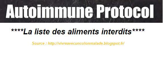 régime AIP Autoimmune Protocol liste des aliments interdits