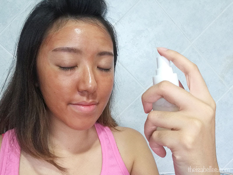 Spraying toner on Beaubelle Jubilation Skin Wellness Mask