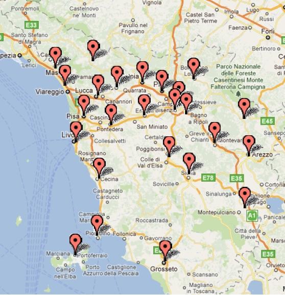 La Toscana Cartina Geografica.Progetto Per Volterra Agosto 2011