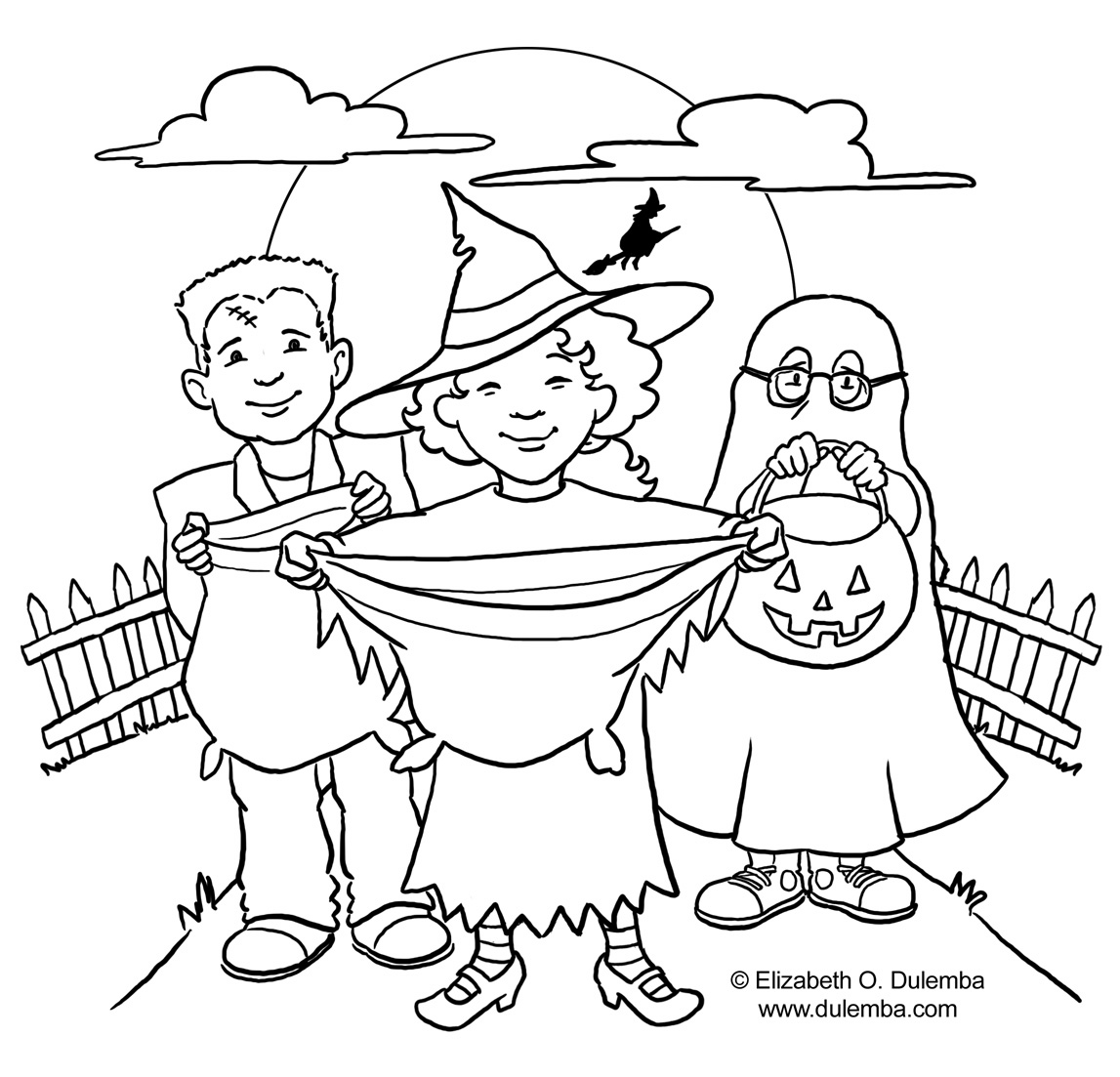halloween trick or treaters coloring pages | Free Halloween coloring pages: Trick Or Treat Coloring