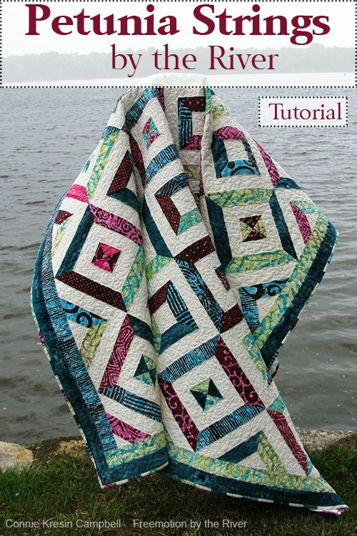 Petunial Strings Quilt Tutorial a fast and easy quilt pattern made with batiks