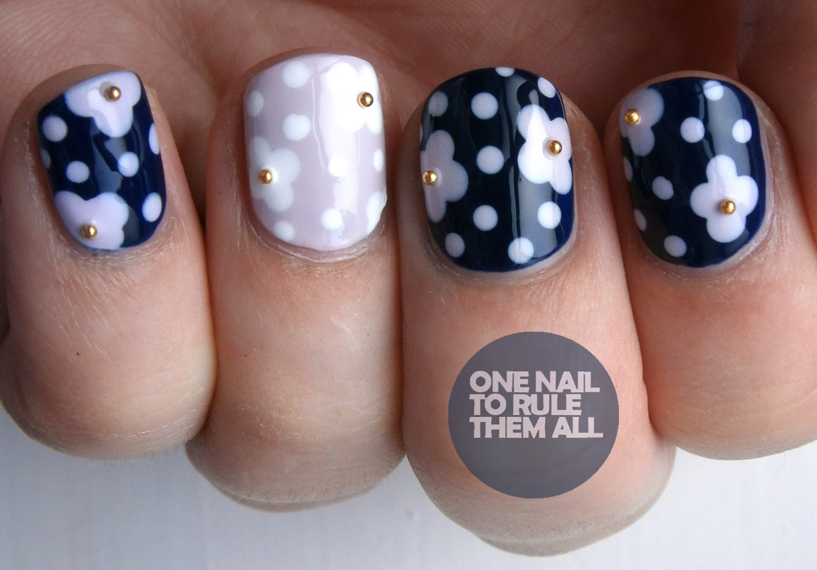 Flowers And Beads Nail Art Designs