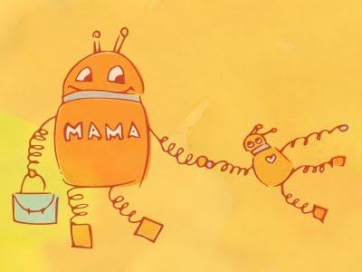 Mother robot and her kid robot on orange background