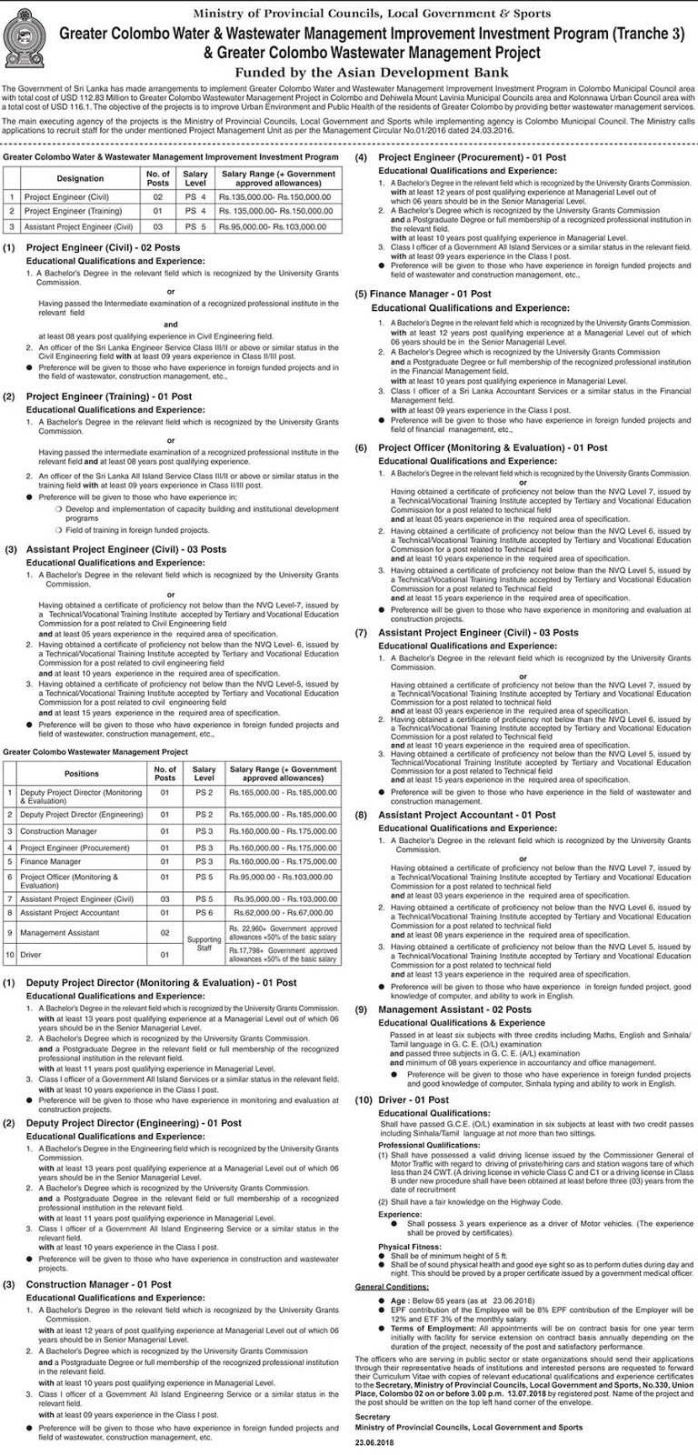 Vacancies at Ministry of Provincial Councils & Local Government and Sports