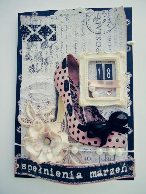Kartka z bucikiem i koronka hand made, na urodziny dla dziewczyny