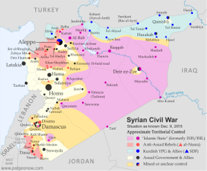 Map of the territorial control (Assad government, Islamic State/ISIS/ISIL, rebel, SDF, and Kurdish) in the Syrian Civil War as of December 9, 2015