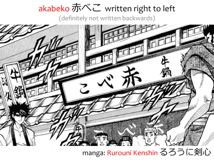 akabeko 赤べこ written right to left (not backwards) in the manga Rurouni Kenshin るろうに検心