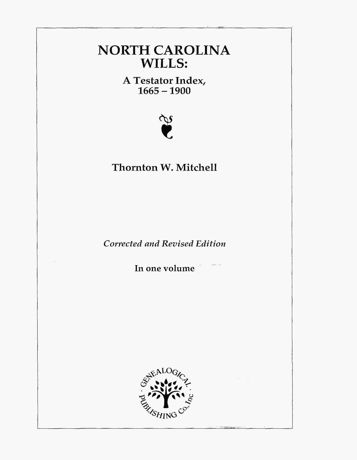 Title Page, North Carolina Wills: A Testator Index, 1996