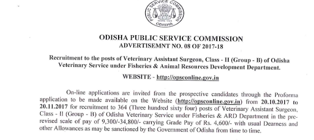 OPSC Recruitment 2017: Apply 364 Veterinary Assistant Surgeon Posts