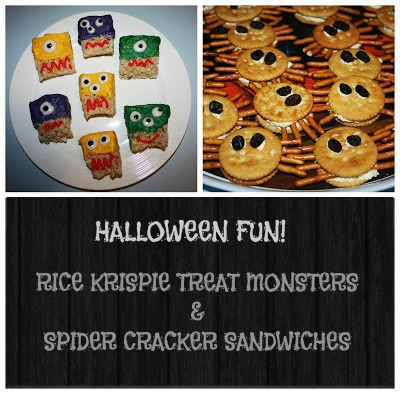 halloween fun monster rice krispie treats spider cracker sandwiches
