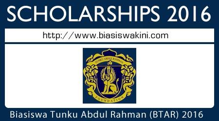 Biasiswa Tunku Abdul Rahman (BTAR) 2016 Scholarships