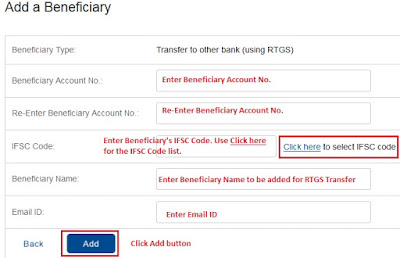 Fill RTGS Beneficiary Details