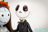 Jack e Sally Biscuit Topo de Bolo Noivinhos Jack Skellington Sally Nightmare