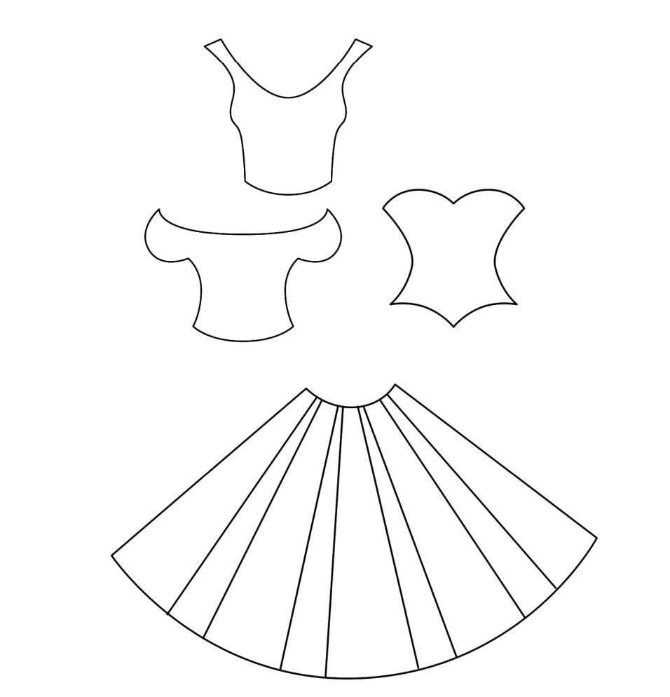 Платья из бумаги для открытки, доброго