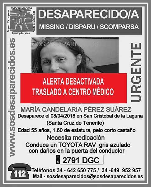 Desactivan alerta por desaparición de mujer en San Cristóbal de La Laguna Maria Candelaria Perez