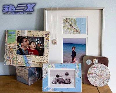 photo frame from maps, world map artwork, world map art decor for interior design