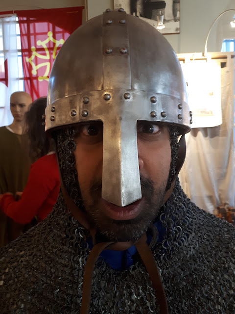 Budget Traveller Kash with medieval helmet at Carcassonne