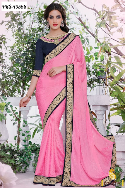 Vaentine Day special gift party wear pink color satin designer sarees online collection at best discount offer price in Surat India