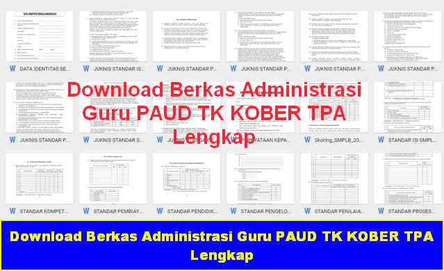 Download Gratis Berkas Administrasi Guru PAUD TK KOBER TPA Lengkap