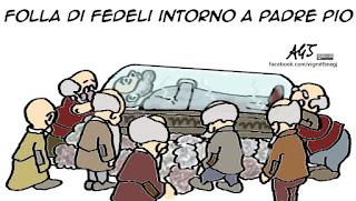 padre pio, roma, culto, santi, vignetta satira