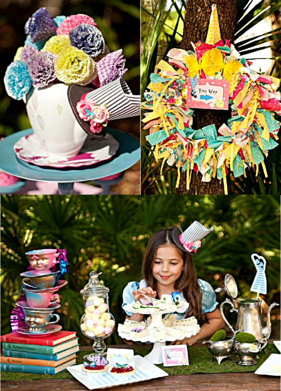 Alice in Wonderland Mad Hatter Tea Party DIY Decorations - via BirdsParty.com