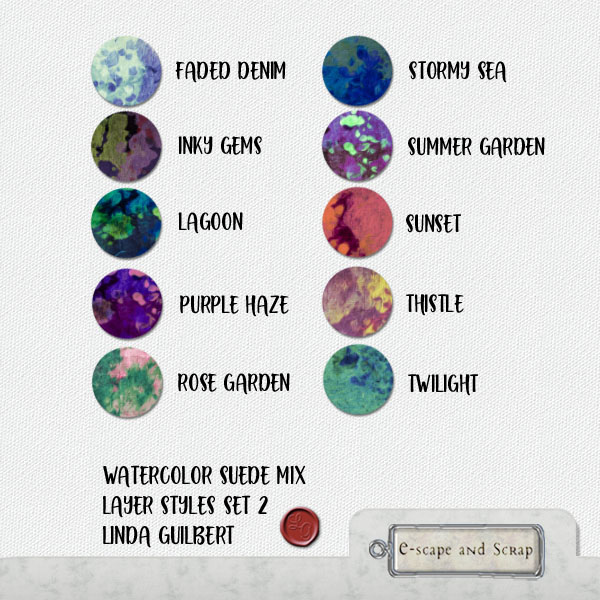 FREEbie: Watercolor Suede Mix Layer Styles #2 for Photoshop Users from Linda Guilbert