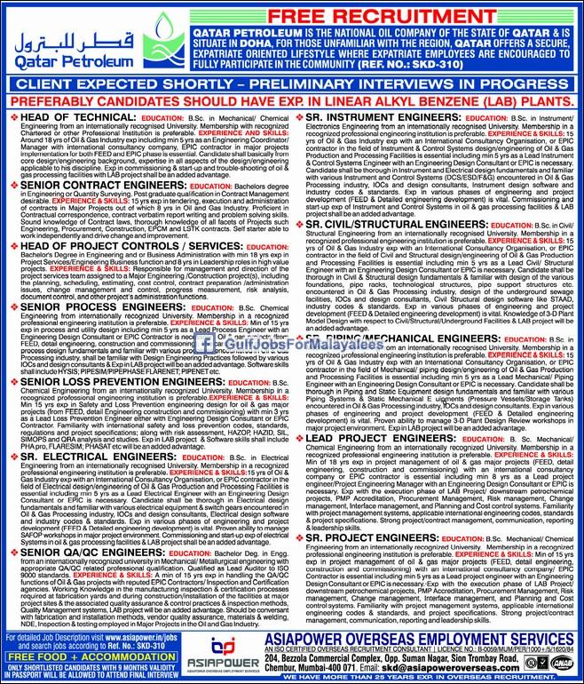 Qatar Petroleum- Free Recruitment - Large vacancies - Gulf