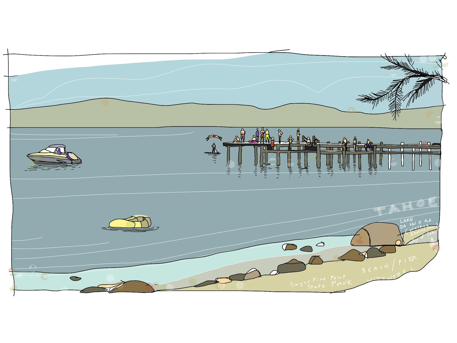 Drawing on the world lake tahoe da ow a ga dock and swimmers e completed painted view of the wood dock at the sugar pine point state park beach lake tahoee native american washoe tribe inhabited the tahoe freerunsca Gallery