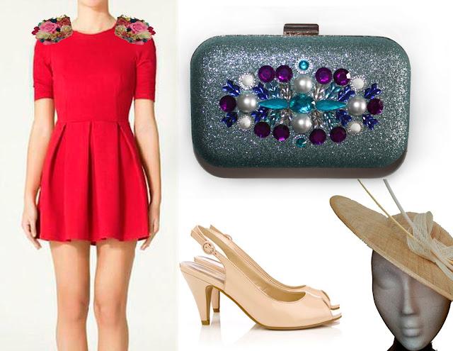 Como combinar un vestido rojo con un bolso de fiesta azul