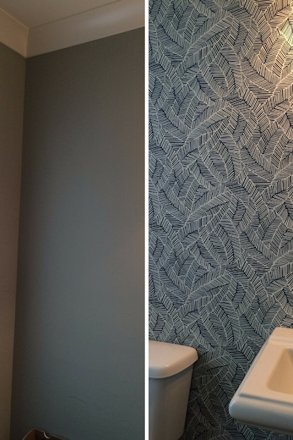 before and after of the paper behind the toilet tank