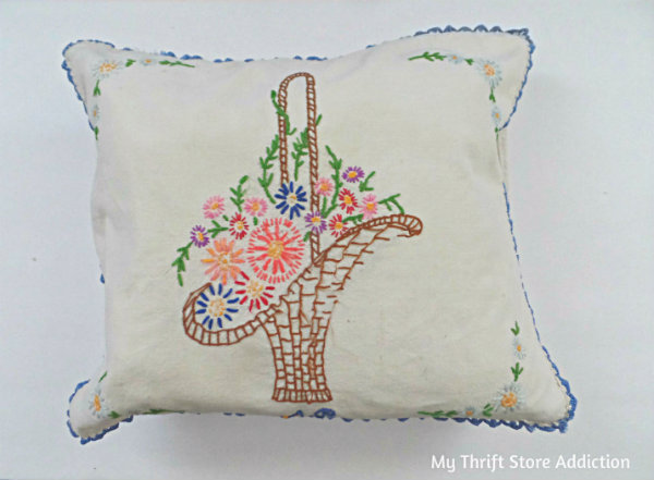 Friday's Find #139 mythriftstoreaddiction.blogspot.com This week's fab finds including this lovely embroidered basket of flowers pillow