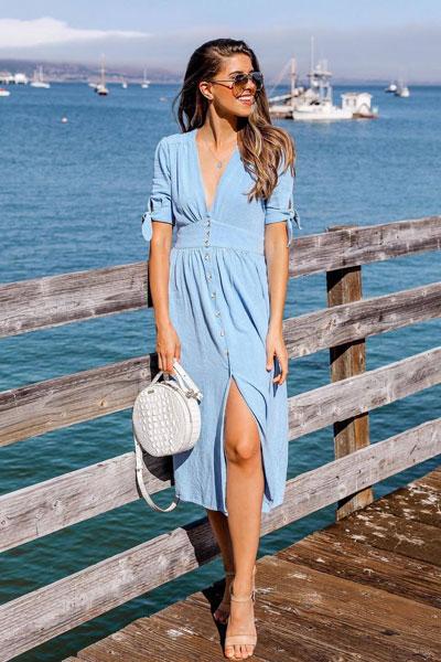 V-Neck Blue Dress+ Crossbody Bag