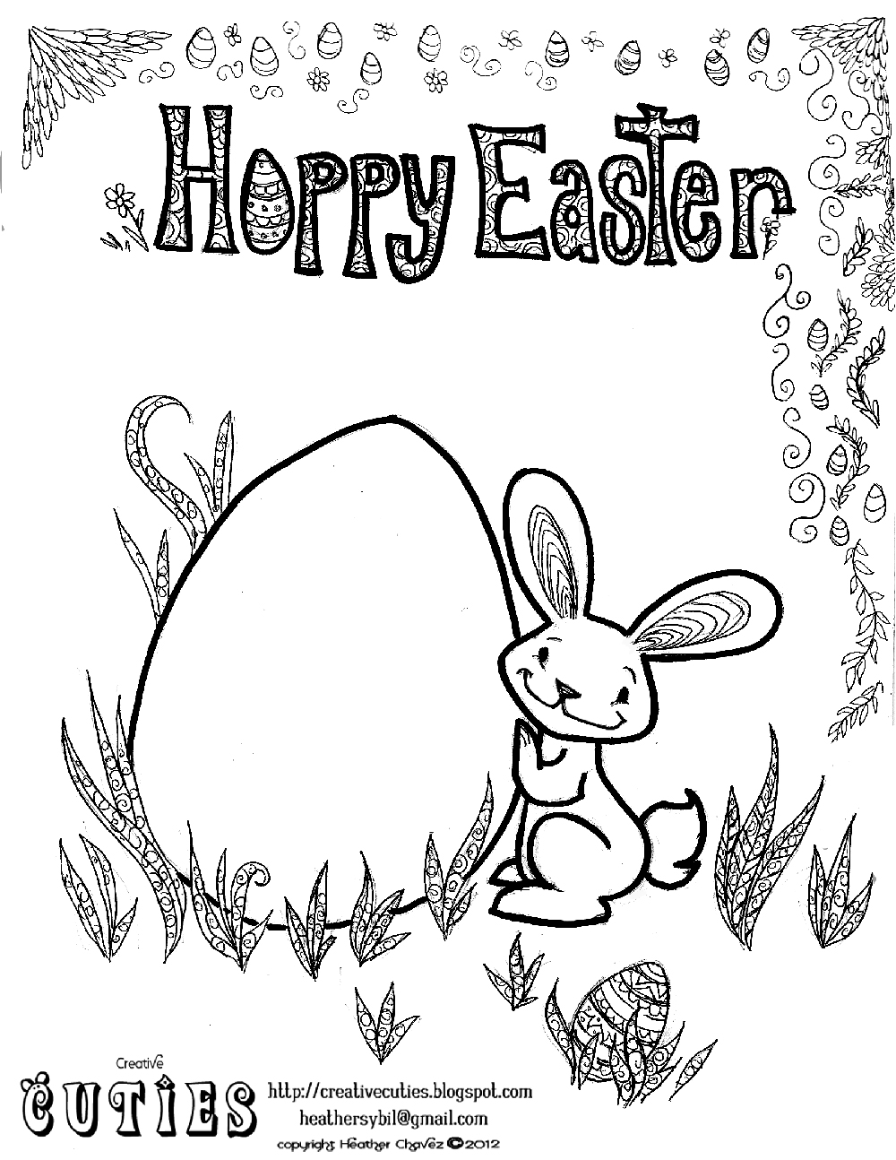 creative cuties  easter bunny coloring page