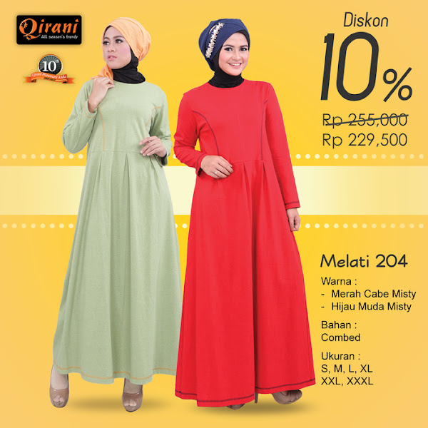 Qirani Baju Gamis Muslimah Trendy Merah Hijau Muda Baju Muslim