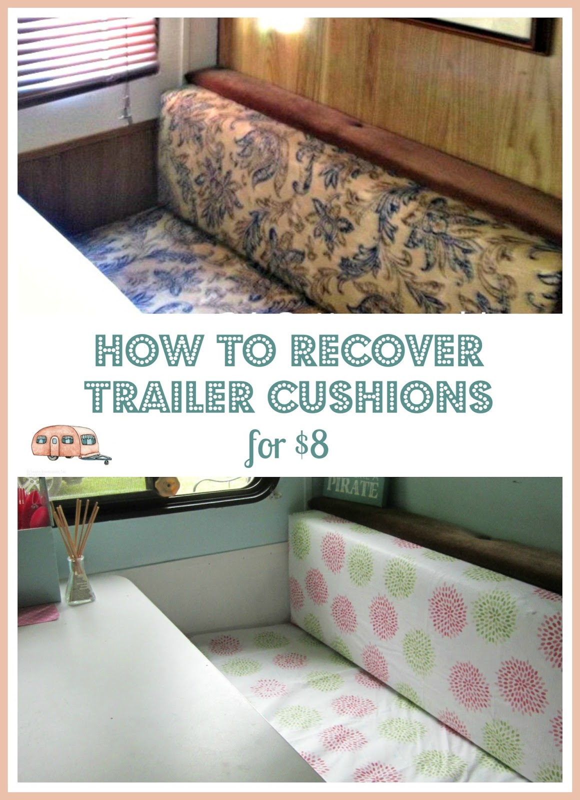 Glamping Update 8 Trailer Diy Dinette Cushion Covers
