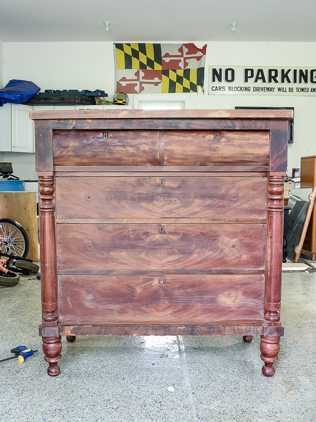 Sanded empire dresser makeover