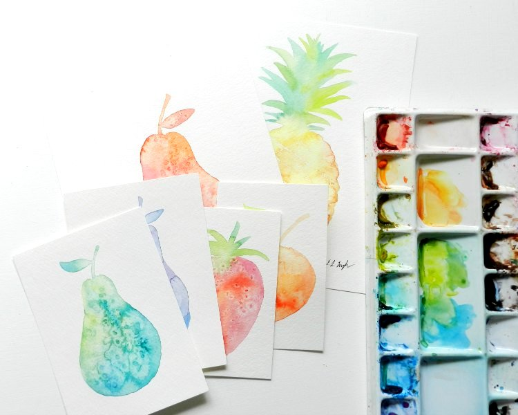 watercolor fruit paintings- pears, strawberry, pineapple, and a peach: grow creative