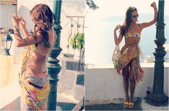 multicolored tropical bikini looks