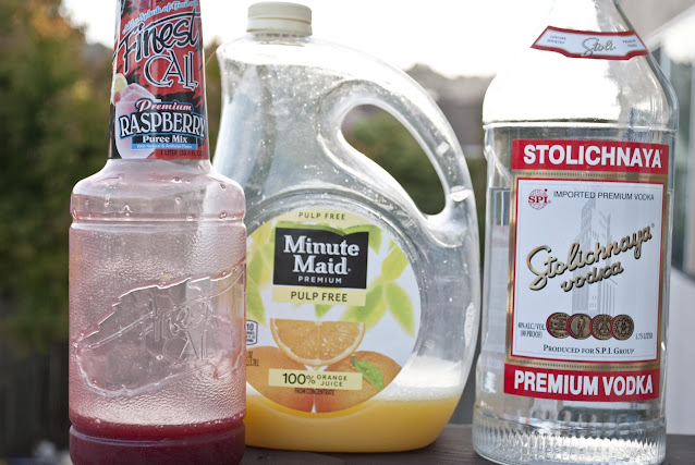raspberry driver cocktail, vodka, raspberry puree, orange juice